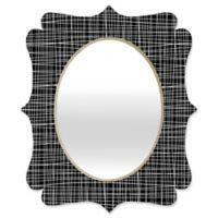Deny Designs® Caroline Okun 29-Inch x 22-Inch Oval Obsidian Quatrefoil Mirror in Black/White