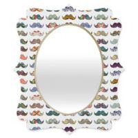 Deny Designs® Bianca Green 29-Inch x 22-Inch Multicolor Oval Mustache Mania Quatrefoil Mirror