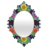 Deny Designs® Sharon Turner 29-Inch x 22-Inch Oval Hibiscus Surf Baroque Mirror in Grape