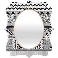 Deny Designs® Kris Tate 19-Inch x 14-Inch Oval Tribal 3 Quatrefoil Mirror in Black/White
