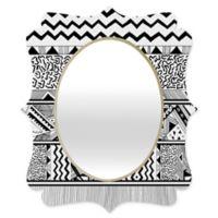 Deny Designs® Kris Tate 29-Inch x 22-Inch Oval Tribal 3 Quatrefoil Mirror in Black/White