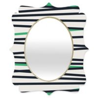 Deny Designs® Khristian A. Howell 29-Inch x 22-Inch Oval Crew Stripe Cool Mirror in Black/Green