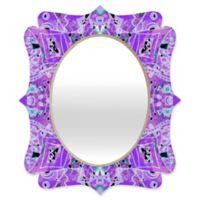 Deny Designs® Ingrid Padilla 19-Inch x 14-Inch Oval Flora Quatrefoil Mirror in Violet