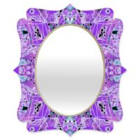 Deny Designs® Ingrid Padilla 29-Inch x 22-Inch Oval Flora Quatrefoil Mirror in Violet