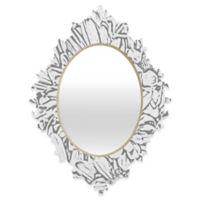 Deny Designs® Lisa Argyropoulos 19-Inch x 14-Inch Oval Daisy Daisy Dove Baroque Mirror in Grey