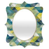 Deny Designs® Gabi 29-Inch x 22-Inch Oval Into the Blue Quatrefoil Mirror