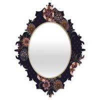 Deny Designs® Pimlada Phuapradit 19-Inch x 14-Inch Oval Navy Bouquet Baroque Mirror