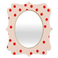 Deny Designs® Garima Dhawan 19-Inch x 14-Inch Oval Vintage Dots Quatrefoil Mirror in Peach/Red