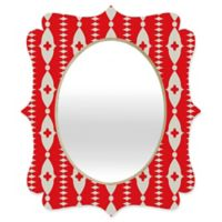 Deny Designs® Holli Zollinger 19-Inch x 14-Inch Oval Ribbon Quatrefoil Mirror in Red/White
