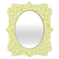 Deny Designs® Joy Laforme 29-Inch x 22-Inch Oval Dahlias Baroque Mirror in Chartreuse