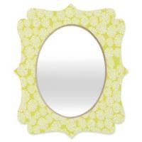 Deny Designs® Joy Laforme 19-Inch x 14-Inch Oval Dahlias Baroque Mirror in Chartreuse