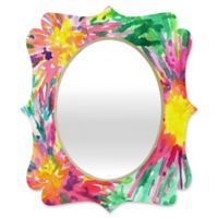 Deny Designs® Joy Laforme 29-Inch x 22-Inch Oval Floral Confetti Quatrefoil Mirror