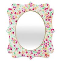 Deny Designs® Joy Laforme 29-Inch x 22-Inch Oval Sun Faded Floral Quatrefoil Mirror in Pink