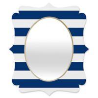 Deny Designs® Holli Zollinger 19-Inch x 14-Inch Oval Stripe Quatrefoil Mirror in Navy
