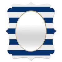 Deny Designs® Holli Zollinger 29-Inch x 22-Inch Oval Stripe Quatrefoil Mirror in Navy