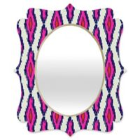 Deny Designs® Holli Zollinger 29-Inch x 22-Inch Oval Ikat Quatrefoil Mirror in Pink/Navy