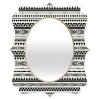 Deny Designs® Allyson Johnson 29-Inch x 22-Inch Oval Aztec Quatrefoil Mirror in Black/White