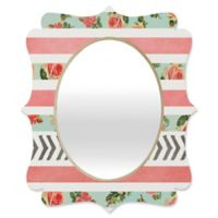 Deny Designs® Allyson Johnson 29-Inch x 22-Inch Oval Floral Stripes/Arrows Mirror
