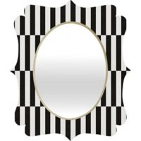 Deny Designs® Bianca Green 19-Inch x 14-Inch Oval Order Quatrefoil Mirror in Black/White