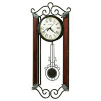 Howard Miller Carmen Pendulum Wall Clock in Wrought Iron and Windsor Cherry Wood