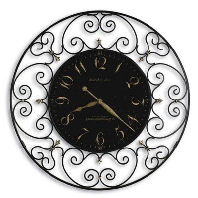 Howard Miller Joline Wall Clock In Black Wrought Iron