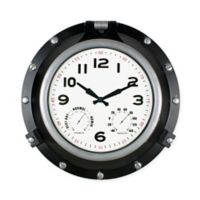 Poolmaster® Porthole Clock with Hygrometer/Thermometer in Black