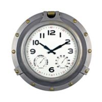 Poolmaster® Porthole Clock with Hygrometer/Thermometer in Silver