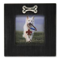 Lawrence Frames 4-Inch x 4-Inch Black Wash Dog Picture Frame With Bone Ornament