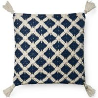 Magnolia Home Viola Square Throw Pillow in Navy/Ivory