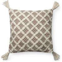 Magnolia Home Viola Square Throw Pillow in Grey/Ivory