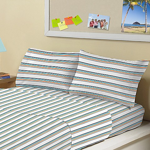 Morgan Home Electric Bands Twin Sheet Set In White