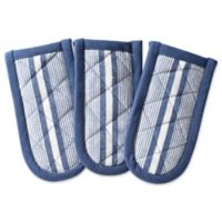 DII Design Imports Chef Stripe Pan Handle (Set of 3) in French Blue