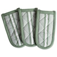 DII Design Imports Chef Stripe Pan Handle (Set of 3) in Artichoke Green