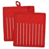 Design Imports Chef Stripe Pot Holder in Red (Set of 2)