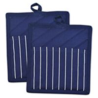 Design Imports Chef Stripe Pot Holder in Blue (Set of 2)