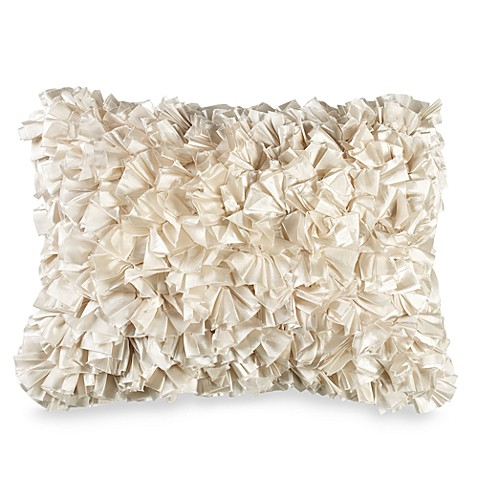 Extreme Ruffles Decorative Throw Pillow In Ivory Bed