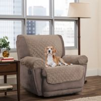 Smart Fit 3-Piece Reversible Suede Recliner Cover in Tan