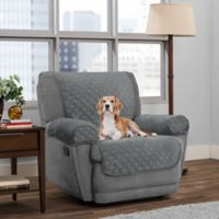 Smart Fit 3-Piece Reversible Suede Recliner Cover in Light Grey
