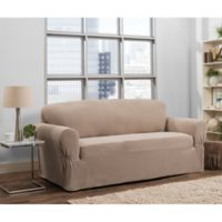 Smart Fit Tinsley 1-Piece Polyester Stretch Sofa Slipcover in Taupe