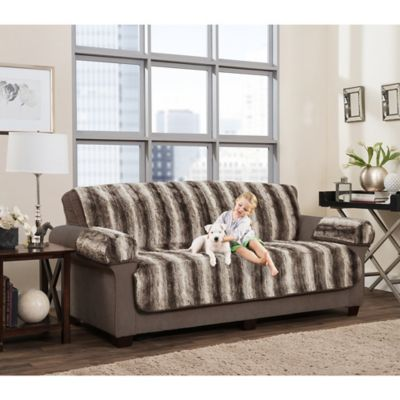 Smart Fit 3 Piece Faux Fur Sofa Cover In Brown Ombre