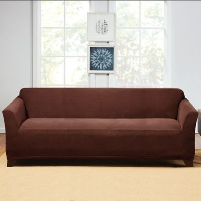 Attractive Sure Fit® Hudson Stretch Sofa Slipcover In Chocolate
