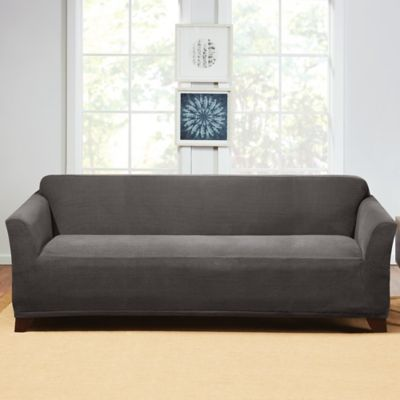buy gray sofa slipcover bed bath beyond rh bedbathandbeyond com gray cotton sofa slipcover gray oxford 2 piece sofa slipcover - sure fit