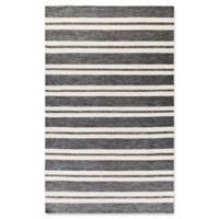 Surya Everett Striped Hand-Woven 5' x 7'6 Area Rug in Light Grey
