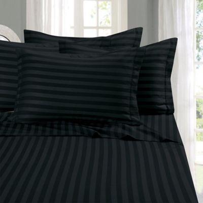 Elegant Comfort Wrinkle Resistant Stripe Queen Sheet Sheet In Black