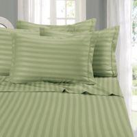 Elegant Comfort Wrinkle Resistant Stripe California King Sheet Sheet in Sage