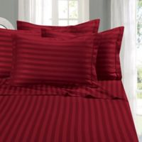 Elegant Comfort Wrinkle Resistant Stripe King Sheet Sheet in Burgundy