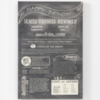 The Day You Were Born Birthday History 24-Inch x 36-Inch Canvas Print