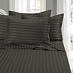 Elegant Comfort Wrinkle Resistant Stripe Queen Sheet Sheet in Grey