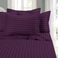 Elegant Comfort Wrinkle Resistant Stripe California King Sheet Sheet in Eggplant