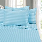 Elegant Comfort Wrinkle Resistant Stripe King Sheet Sheet in Aqua